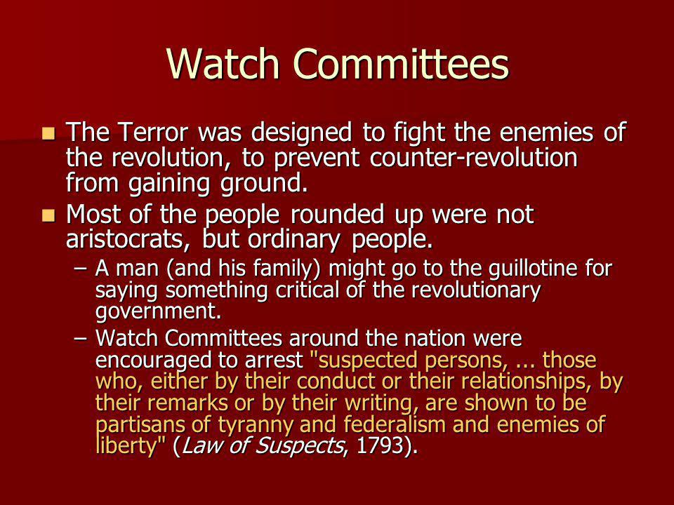 Watch Committees The Terror was designed to fight the enemies of the revolution, to prevent counter-revolution from gaining ground. The Terror was des