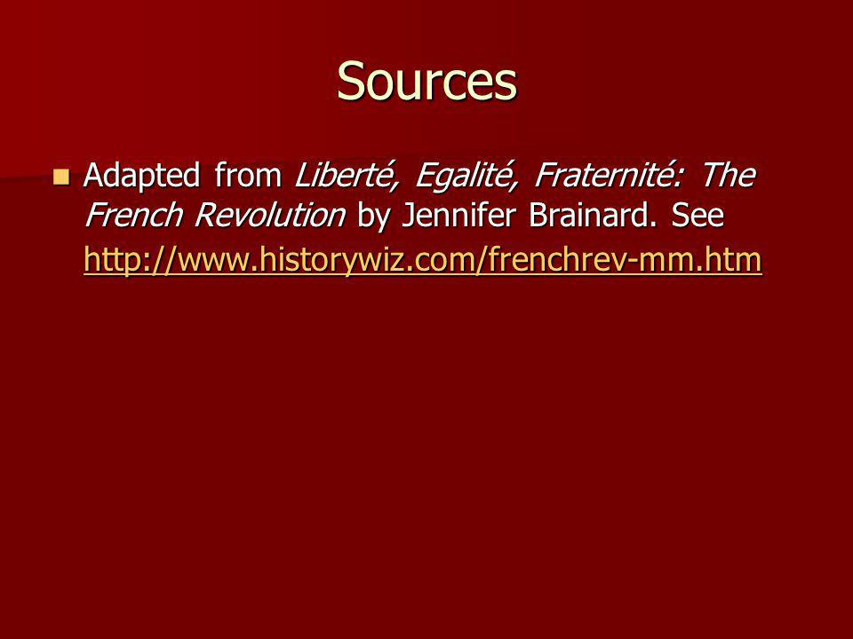 Sources Adapted from Liberté, Egalité, Fraternité: The French Revolution by Jennifer Brainard. See http://www.historywiz.com/frenchrev-mm.htm Adapted