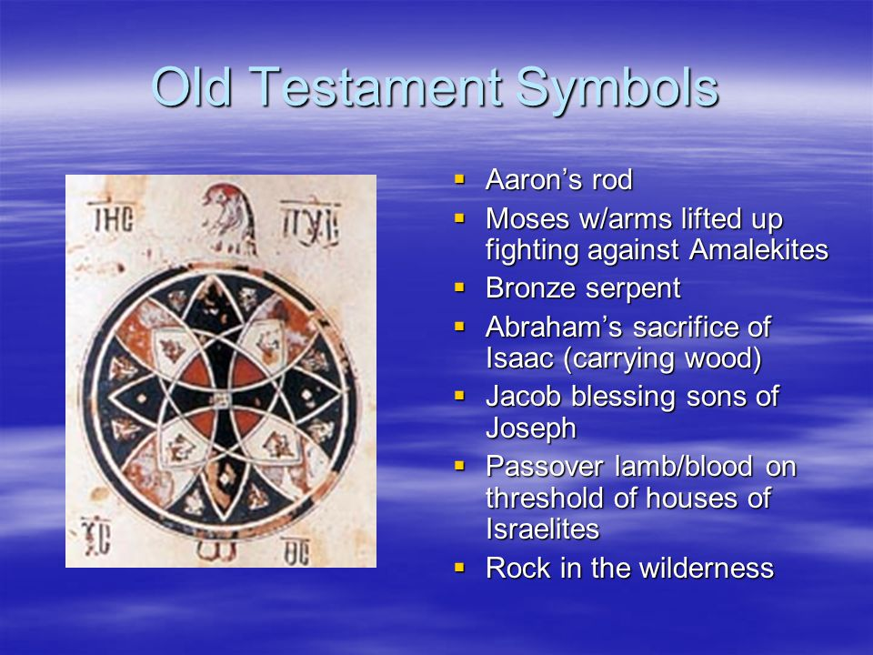Old Testament Symbols Aarons rod Aarons rod Moses w/arms lifted up fighting against Amalekites Moses w/arms lifted up fighting against Amalekites Bronze serpent Bronze serpent Abrahams sacrifice of Isaac (carrying wood) Abrahams sacrifice of Isaac (carrying wood) Jacob blessing sons of Joseph Jacob blessing sons of Joseph Passover lamb/blood on threshold of houses of Israelites Passover lamb/blood on threshold of houses of Israelites Rock in the wilderness Rock in the wilderness