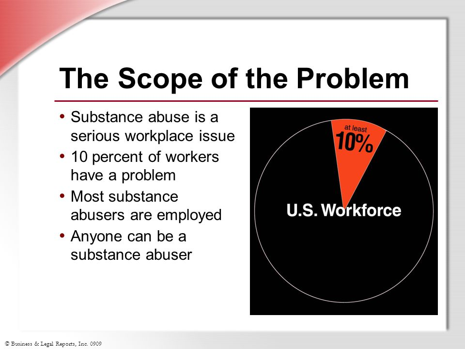 © Business & Legal Reports, Inc. 0909 The Scope of the Problem Substance abuse is a serious workplace issue 10 percent of workers have a problem Most