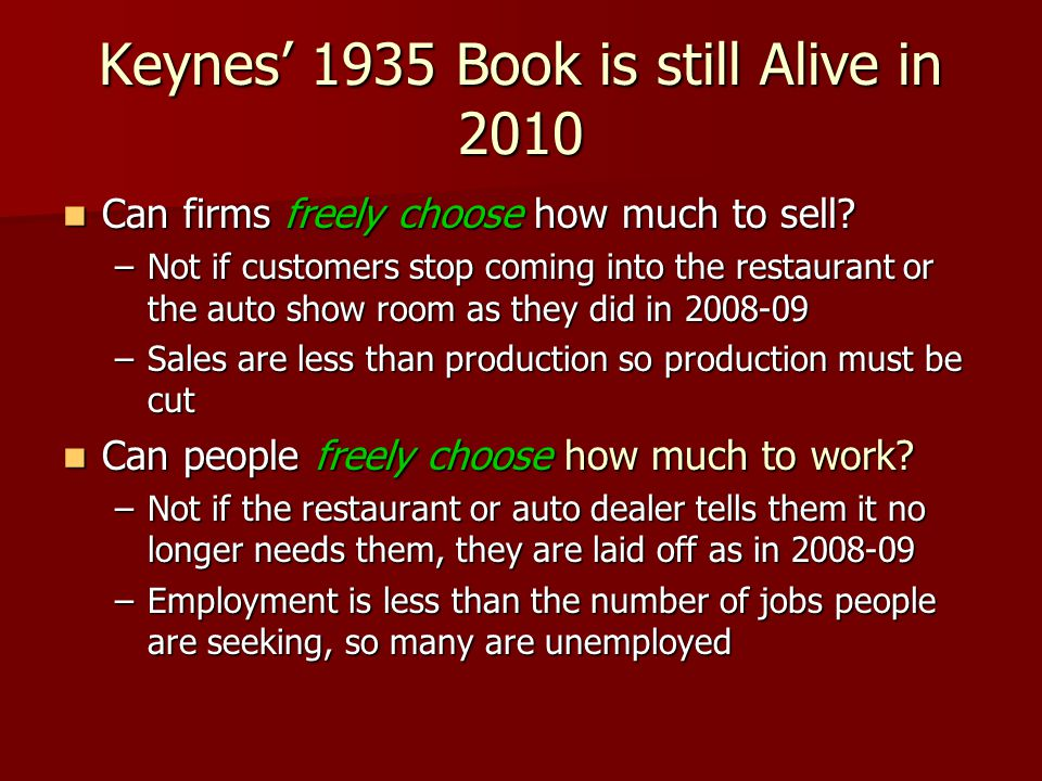 Keynes 1935 Book is still Alive in 2010 Can firms freely choose how much to sell? Can firms freely choose how much to sell? –Not if customers stop com