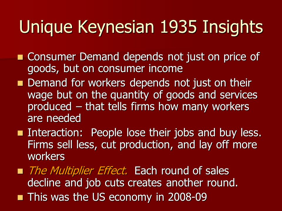 Unique Keynesian 1935 Insights Consumer Demand depends not just on price of goods, but on consumer income Consumer Demand depends not just on price of