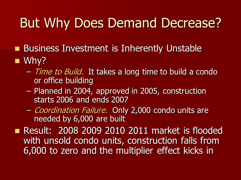 But Why Does Demand Decrease? Business Investment is Inherently Unstable Business Investment is Inherently Unstable Why? Why? –Time to Build. It takes