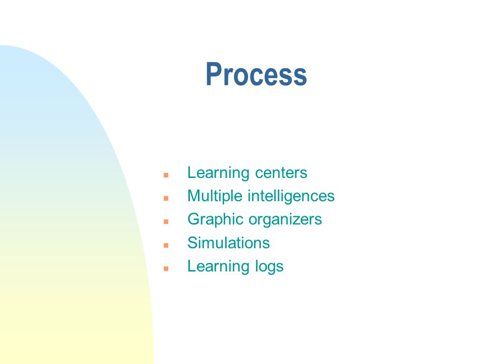 Process n Learning centers n Multiple intelligences n Graphic organizers n Simulations n Learning logs
