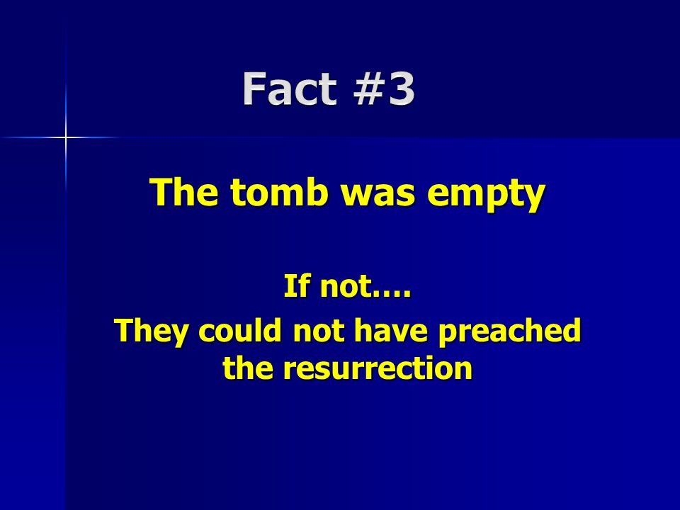 The tomb was empty If not…. They could not have preached the resurrection
