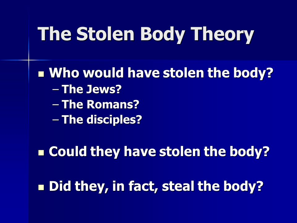 The Stolen Body Theory Who would have stolen the body.