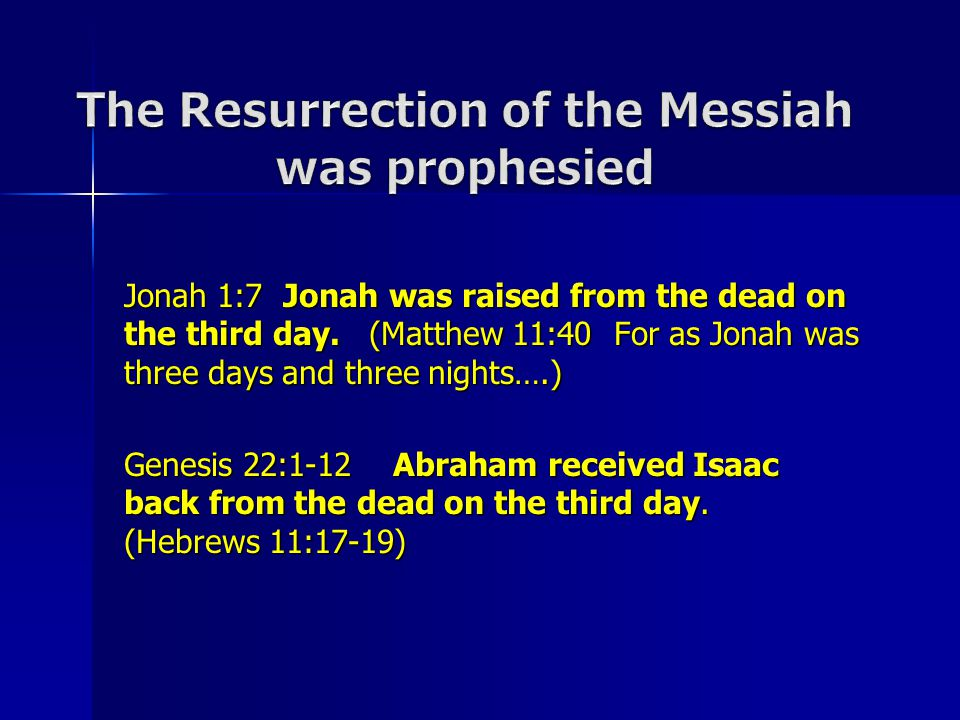 Jonah 1:7 Jonah was raised from the dead on the third day.