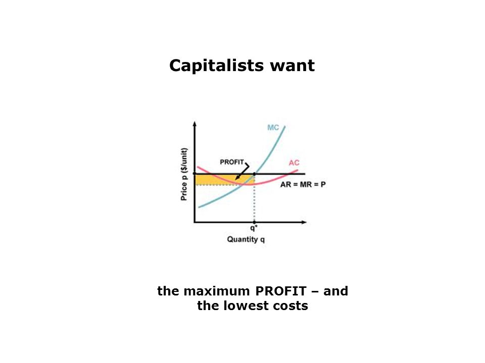 Capitalists want the maximum PROFIT – and the lowest costs