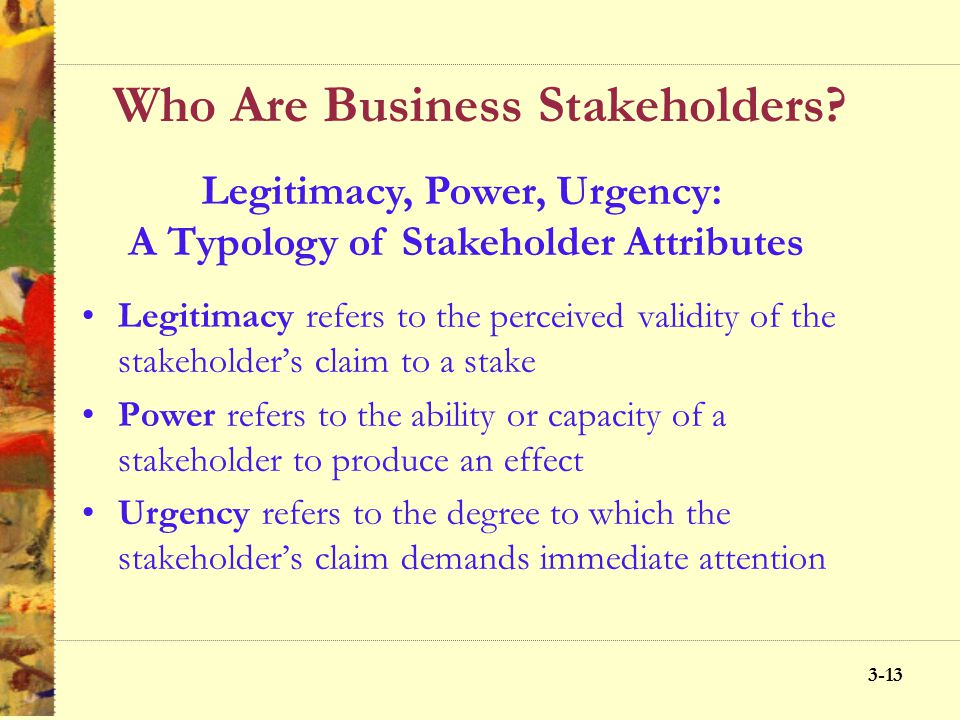 3-12 Who Are Business Stakeholders? Core, Strategic, and Environmental Stakeholders Core stakeholders are essential to the survival of the firm Strate