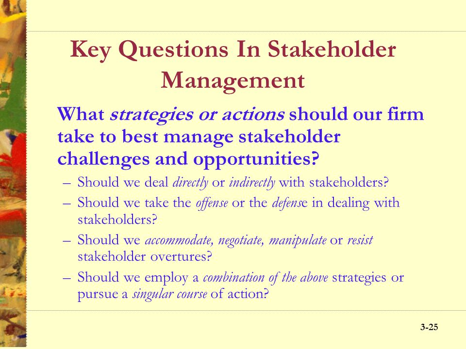 3-24 Key Questions In Stakeholder Management StakeholdersEconomicLegalEthicalPhilanthropic Owners Customers Employees Community Public at large Social