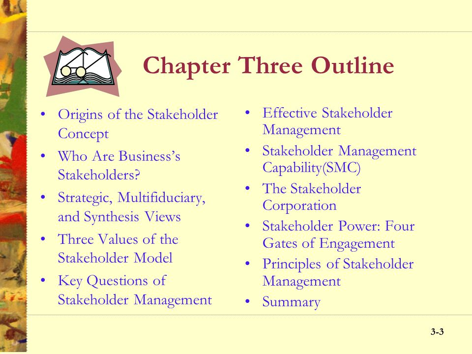 3-22 Chapter Three Objectives Define stake and stakeholder Differentiate between production, managerial, and stakeholder views of the firm Discuss thr