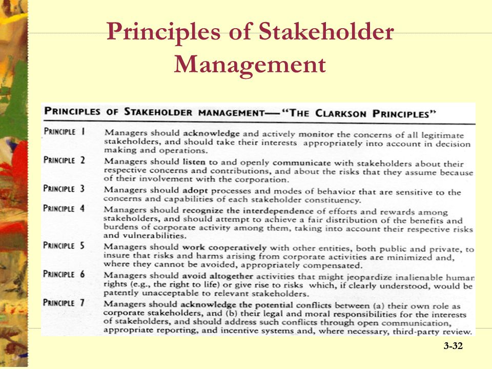 3-31 Principles of Stakeholder Management Acknowledge Monitor Listen Communicate Adopt Recognize Work Avoid Acknowledge conflict
