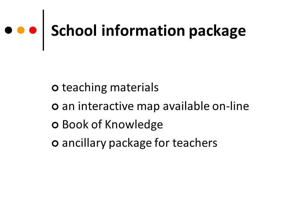 School information package teaching materials an interactive map available on-line Book of Knowledge ancillary package for teachers