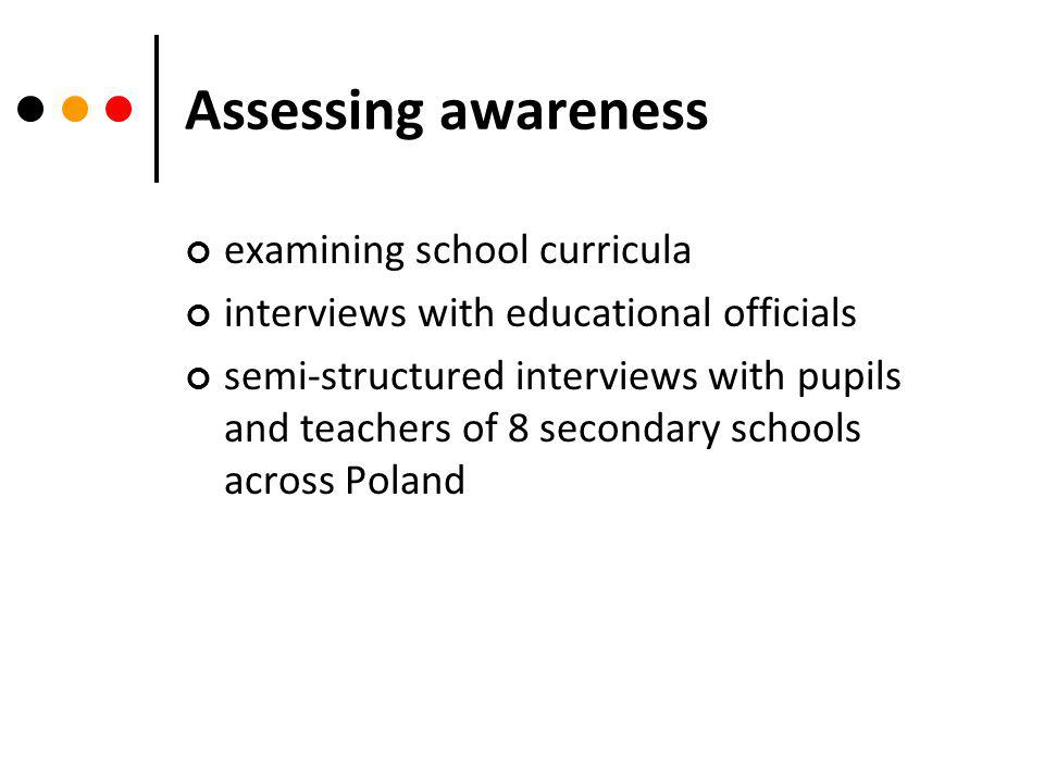 Assessing awareness examining school curricula interviews with educational officials semi-structured interviews with pupils and teachers of 8 secondary schools across Poland