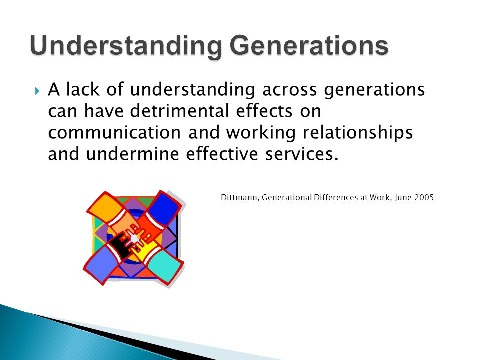 A lack of understanding across generations can have detrimental effects on communication and working relationships and undermine effective services. D