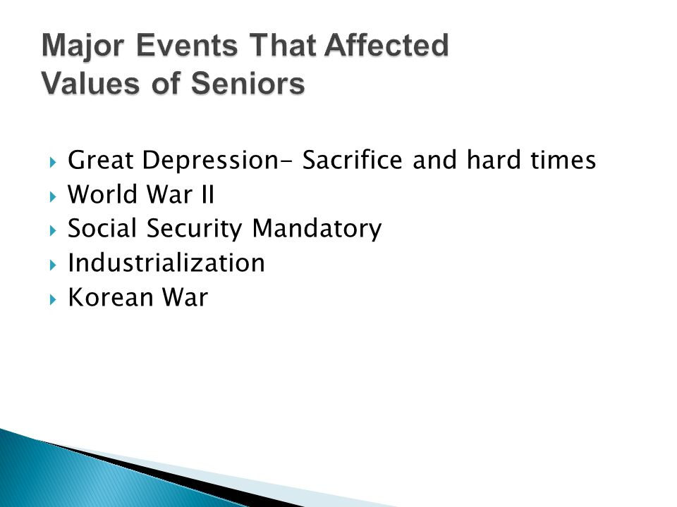 Great Depression- Sacrifice and hard times World War II Social Security Mandatory Industrialization Korean War