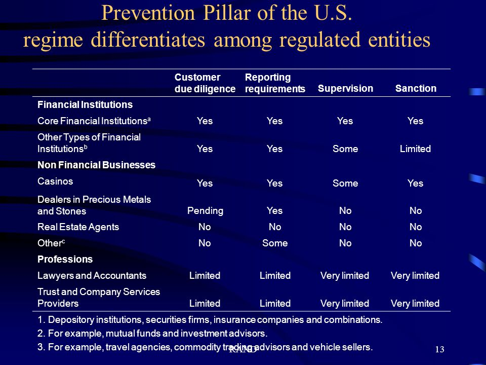 RAND13 Prevention Pillar of the U.S.