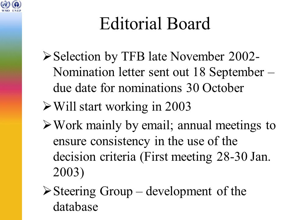 Editorial Board Selection by TFB late November 2002- Nomination letter sent out 18 September – due date for nominations 30 October Will start working in 2003 Work mainly by email; annual meetings to ensure consistency in the use of the decision criteria (First meeting 28-30 Jan.
