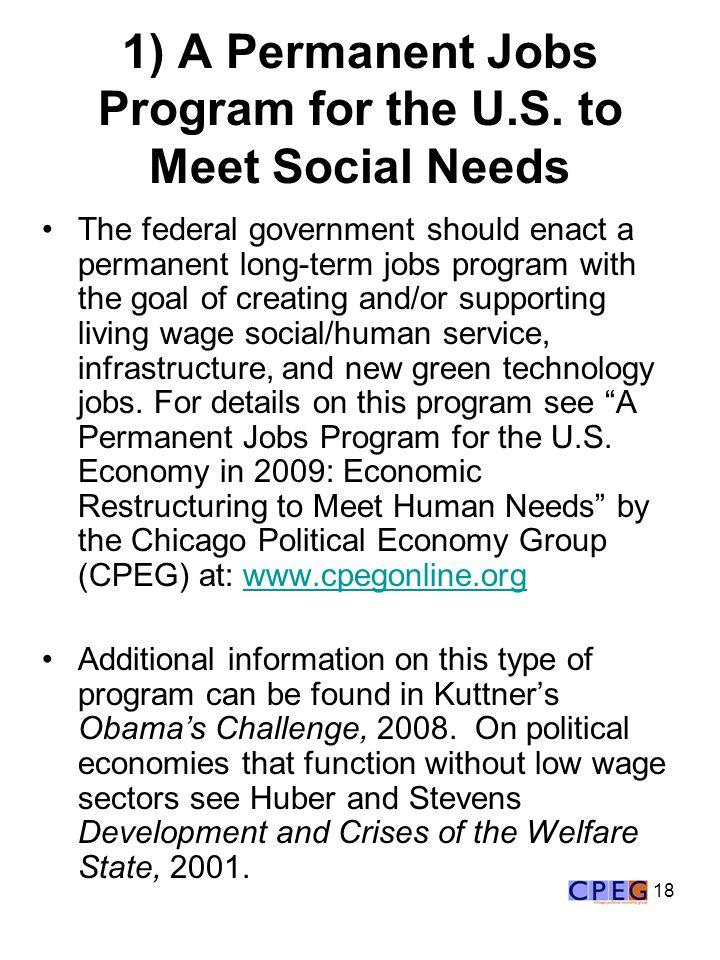 18 1) A Permanent Jobs Program for the U.S.