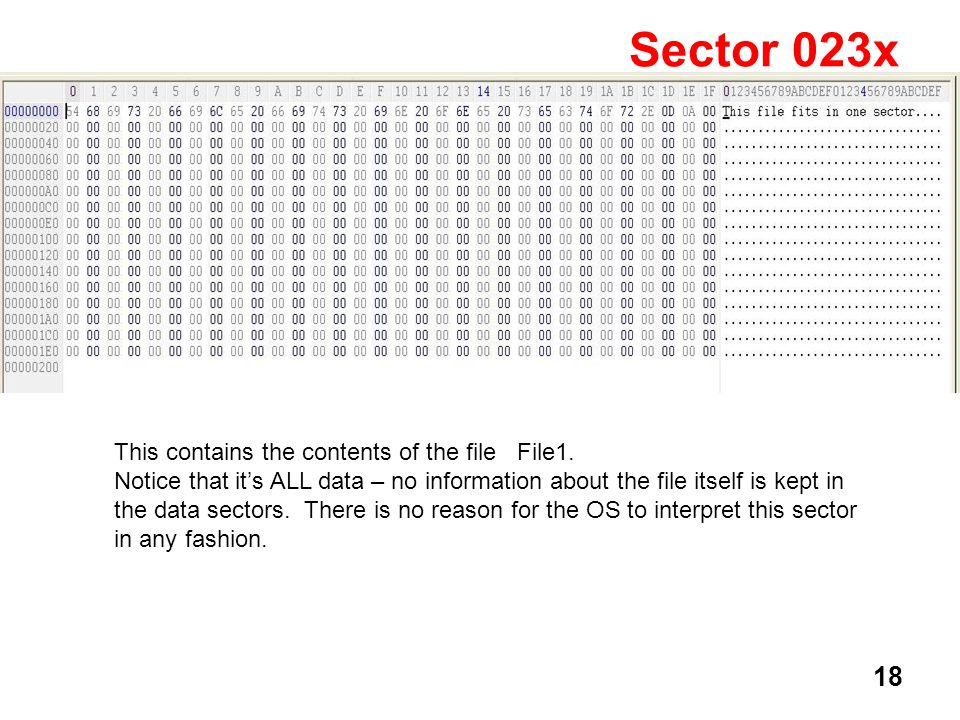 18 Sector 023x This contains the contents of the file File1.