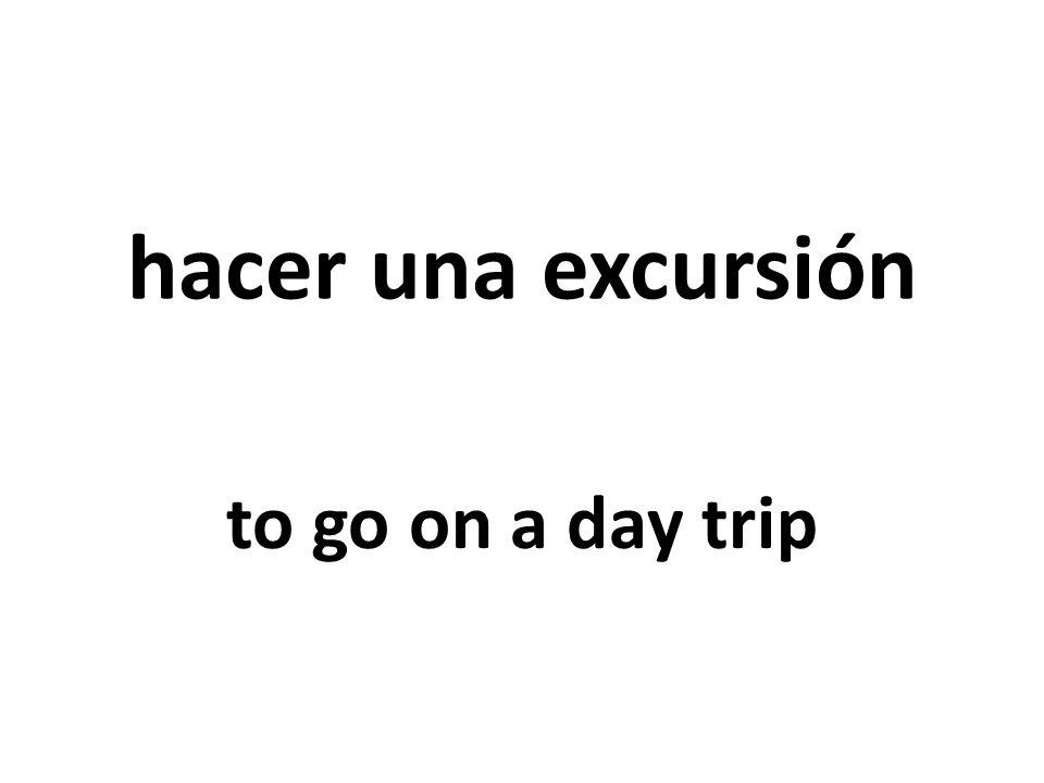 hacer una excursión to go on a day trip