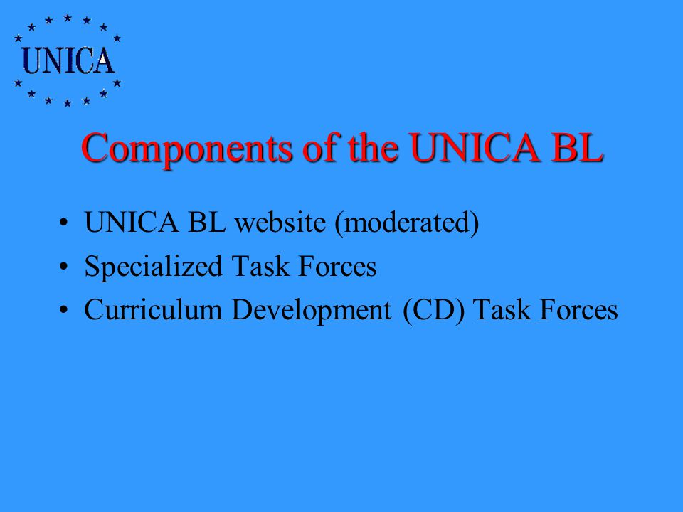 Components of the UNICA BL UNICA BL website (moderated) Specialized Task Forces Curriculum Development (CD) Task Forces