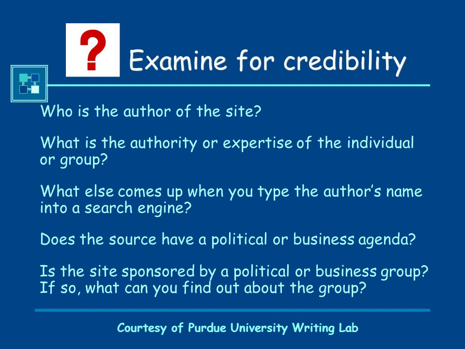Courtesy of Purdue University Writing Lab Examine for credibility Who is the author of the site.