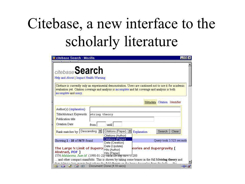 Citebase, a new interface to the scholarly literature