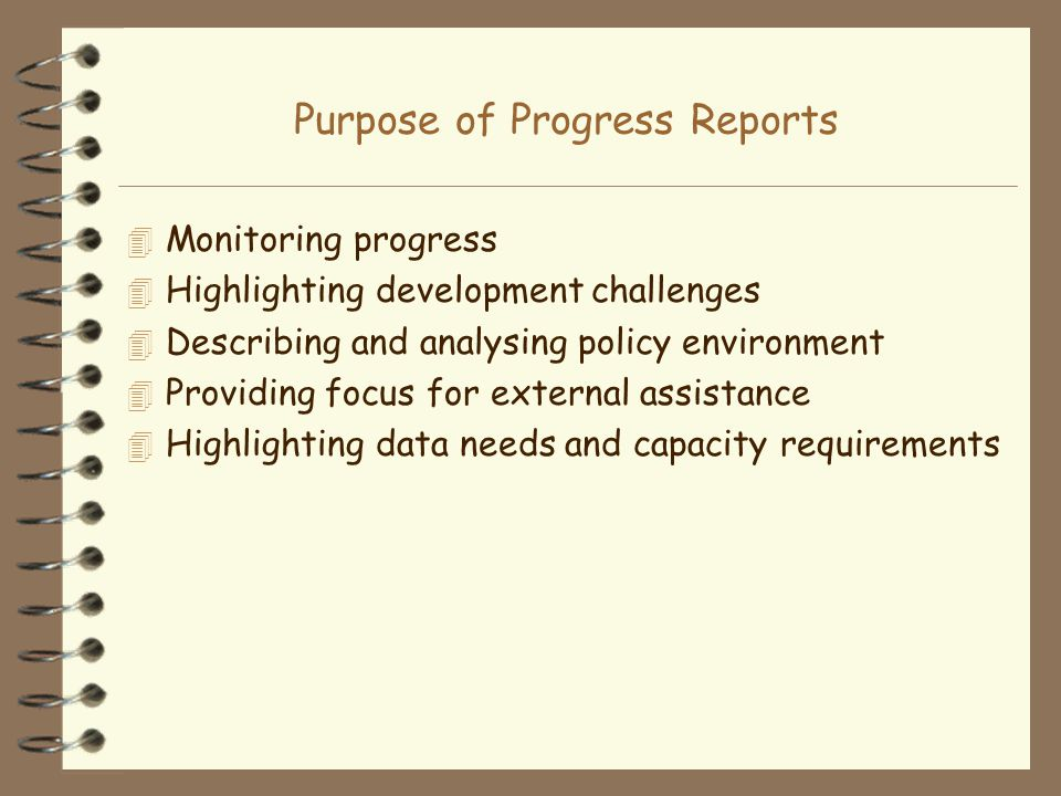 Purpose of Progress Reports 4 Monitoring progress 4 Highlighting development challenges 4 Describing and analysing policy environment 4 Providing focu