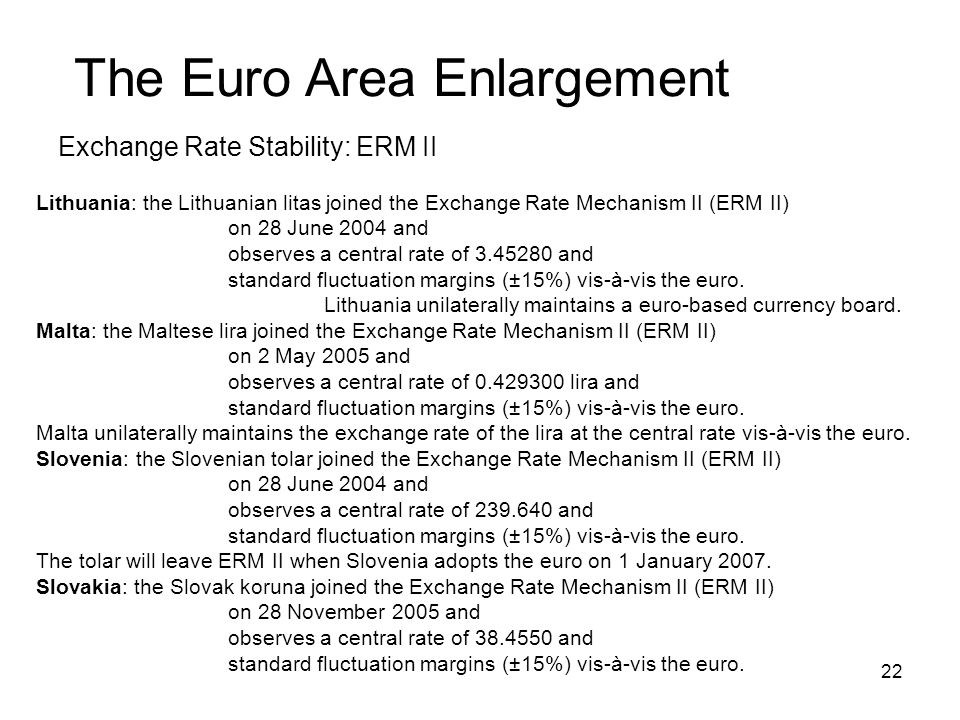 22 The Euro Area Enlargement Exchange Rate Stability: ERM II Lithuania: the Lithuanian litas joined the Exchange Rate Mechanism II (ERM II) on 28 June 2004 and observes a central rate of 3.45280 and standard fluctuation margins (±15%) vis-à-vis the euro.