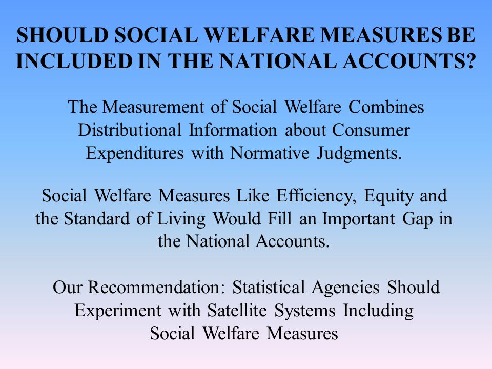SHOULD SOCIAL WELFARE MEASURES BE INCLUDED IN THE NATIONAL ACCOUNTS.