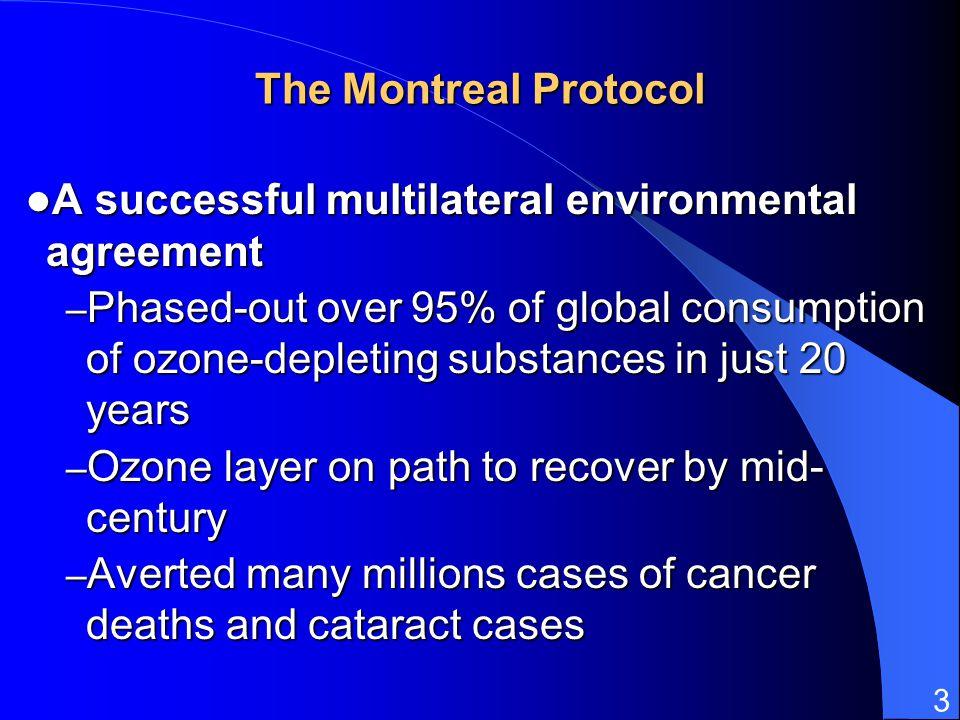 3 The Montreal Protocol A successful multilateral environmental agreement A successful multilateral environmental agreement – Phased-out over 95% of g