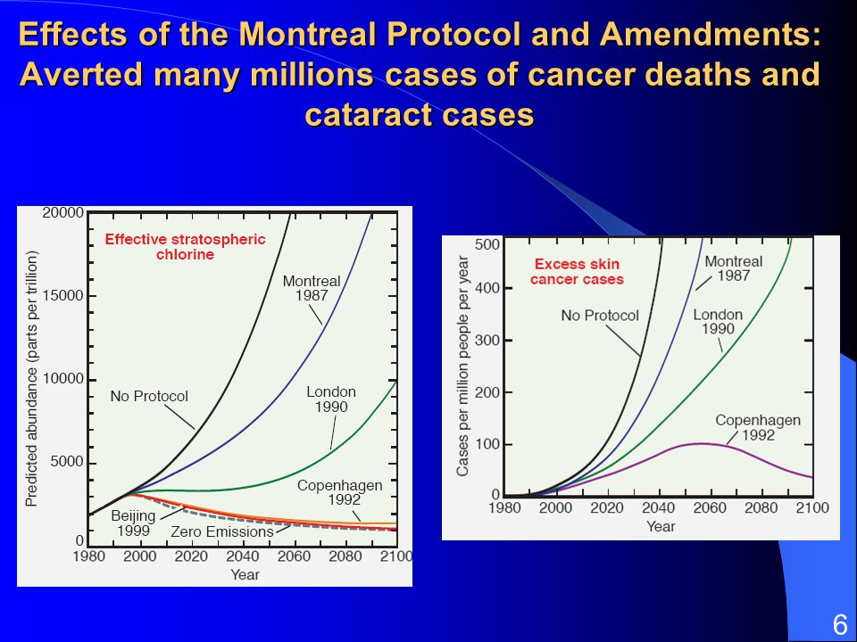 6 Effects of the Montreal Protocol and Amendments: Averted many millions cases of cancer deaths and cataract cases