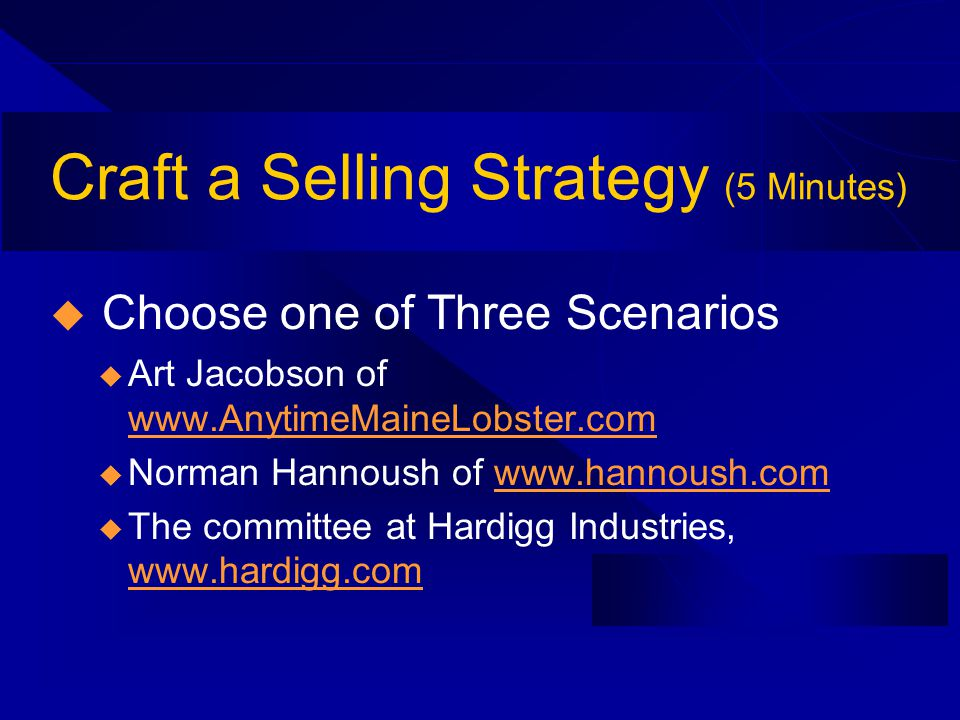 Craft a Selling Strategy (5 Minutes) Choose one of Three Scenarios u Art Jacobson of www.AnytimeMaineLobster.com www.AnytimeMaineLobster.com u Norman Hannoush of www.hannoush.comwww.hannoush.com u The committee at Hardigg Industries, www.hardigg.com www.hardigg.com