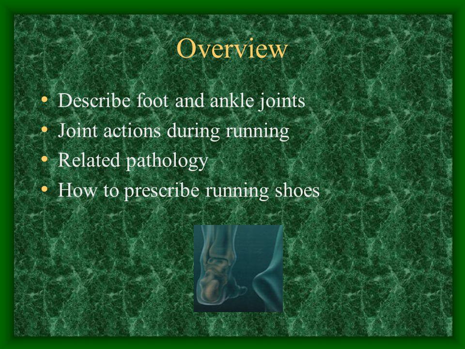 Shoe Design Motion Control, Stability, Cushion Motion Control –Mod-Severe overpronator Stability –majority of the population, slight overpronation Cushioned –Neutral/underpronator runner