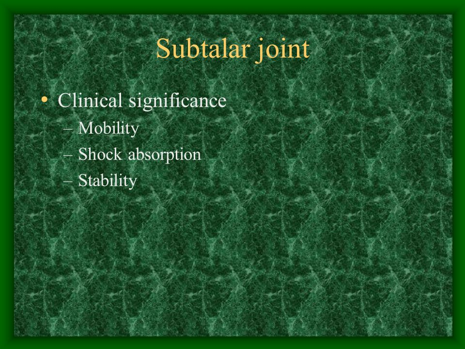Supination Normal –Late stance phase –Provides rigidity, support, propulsion –Facilitates lower leg external rotation Abnormal –Minimal pronation at subtalar joint –Little drop of medial longitudinal arch