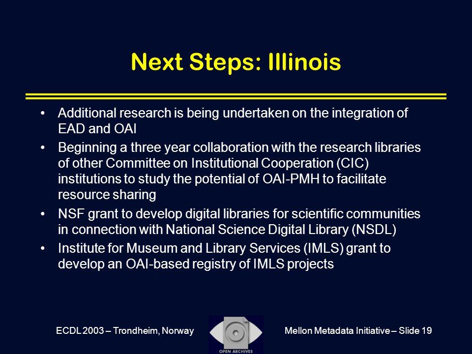 Mellon Metadata Initiative – Slide 19ECDL 2003 – Trondheim, Norway Next Steps: Illinois Additional research is being undertaken on the integration of