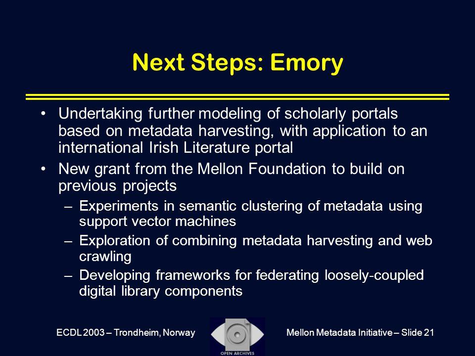 Mellon Metadata Initiative – Slide 21ECDL 2003 – Trondheim, Norway Next Steps: Emory Undertaking further modeling of scholarly portals based on metada
