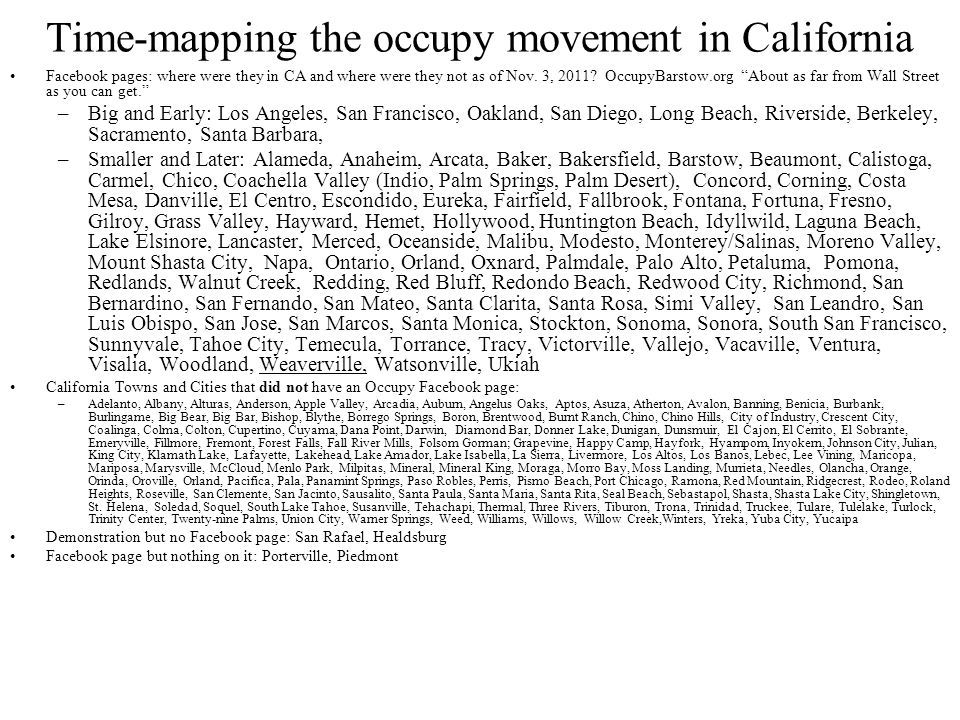 Time-mapping the occupy movement in California Facebook pages: where were they in CA and where were they not as of Nov.