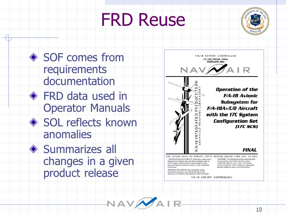 10 FRD Reuse SOF comes from requirements documentation FRD data used in Operator Manuals SOL reflects known anomalies Summarizes all changes in a given product release