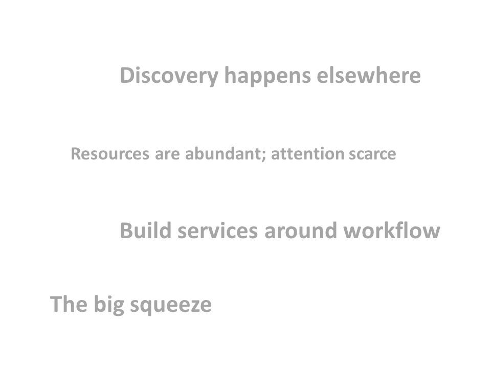 Discovery happens elsewhere Resources are abundant; attention scarce Build services around workflow The big squeeze