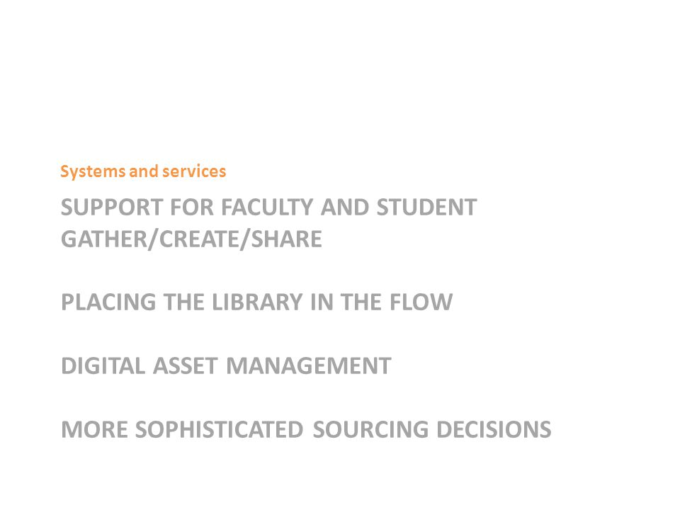 SUPPORT FOR FACULTY AND STUDENT GATHER/CREATE/SHARE PLACING THE LIBRARY IN THE FLOW DIGITAL ASSET MANAGEMENT MORE SOPHISTICATED SOURCING DECISIONS Systems and services