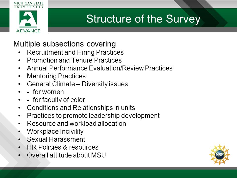 Structure of the Survey Multiple subsections covering Recruitment and Hiring Practices Promotion and Tenure Practices Annual Performance Evaluation/Re