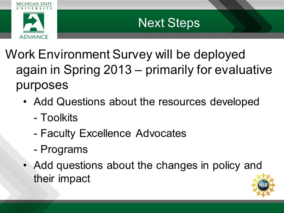 Next Steps Work Environment Survey will be deployed again in Spring 2013 – primarily for evaluative purposes Add Questions about the resources develop