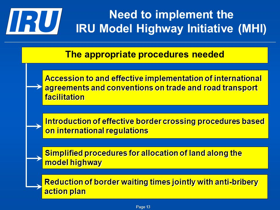 Page 13 Need to implement the IRU Model Highway Initiative (MHI) The appropriate procedures needed Introduction of effective border crossing procedures based on international regulations Simplified procedures for allocation of land along the model highway Accession to and effective implementation of international agreements and conventions on trade and road transport facilitation Reduction of border waiting times jointly with anti-bribery action plan