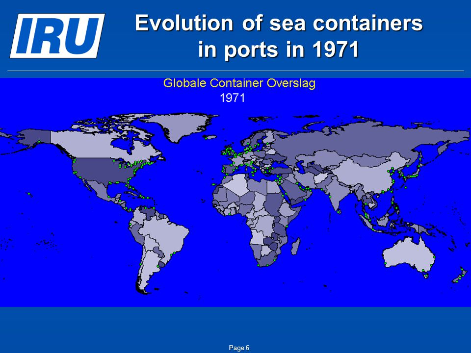Page 6 Evolution of sea containers in ports in 1971
