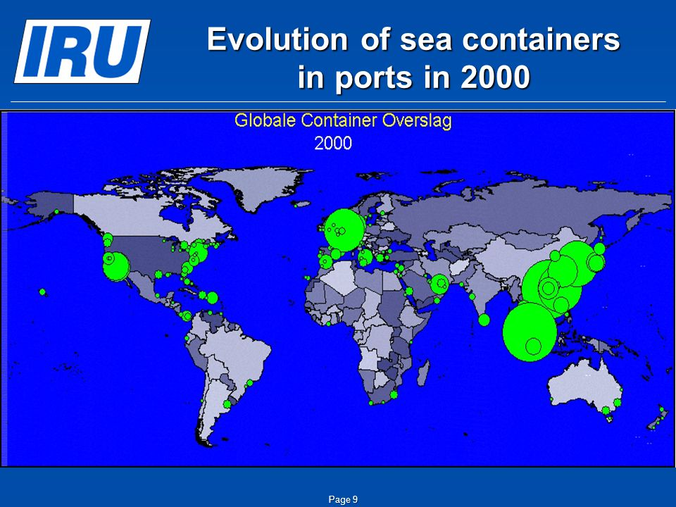 Page 9 Evolution of sea containers in ports in 2000