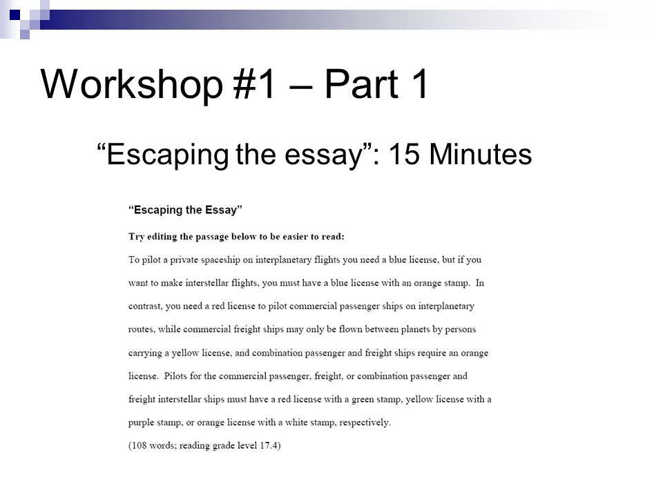 Workshop #1 – Part 1 Escaping the essay: 15 Minutes