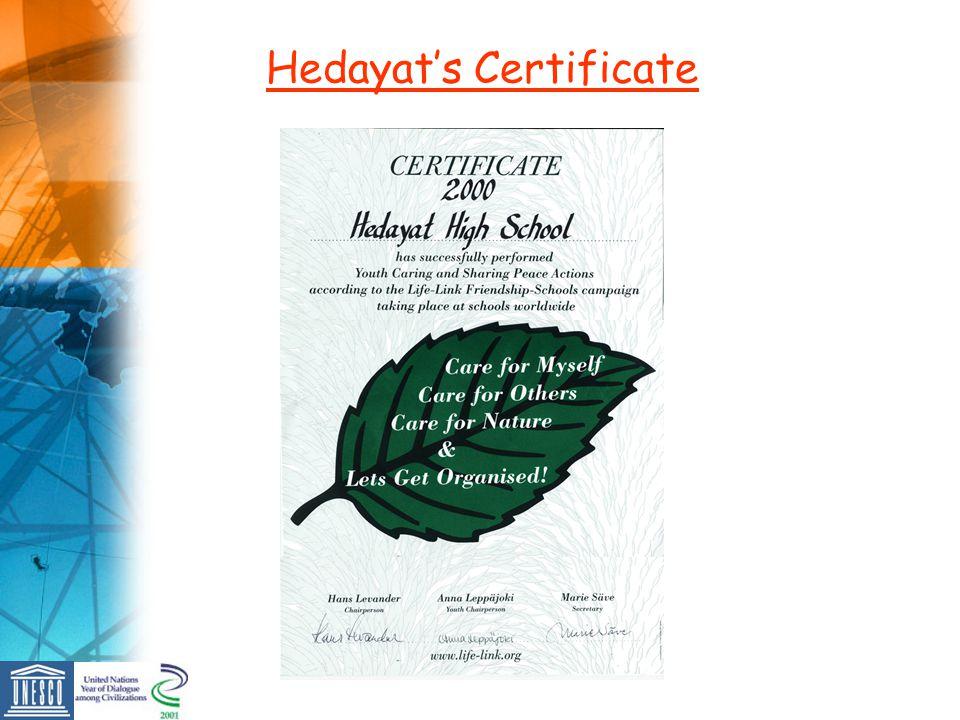 Hedayats Certificate