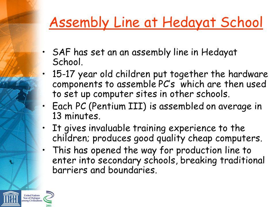 Assembly Line at Hedayat School SAF has set an an assembly line in Hedayat School.